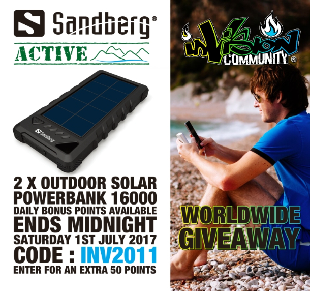 sandberg 2x solar powerbank giveaway invision game community. Black Bedroom Furniture Sets. Home Design Ideas